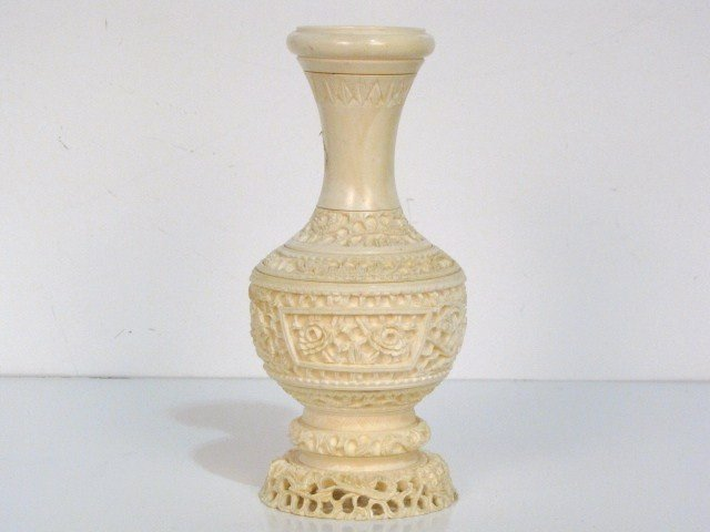 "73: 8"" CHINESE CARVED IVORY VASE"