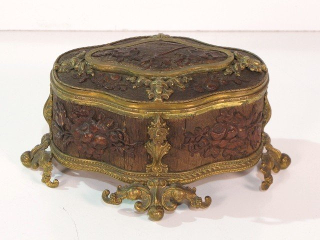 12: FRENCH CARVED BRASS MOUNTED JEWELRY BOX