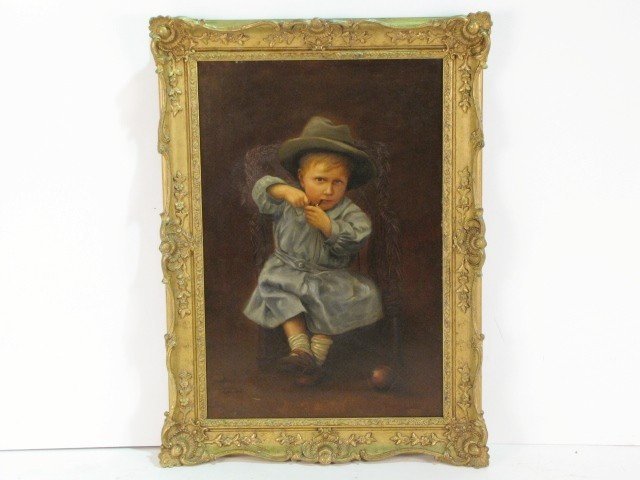 2: MARSHALL BROWN OIL PAINTING of a BOY w/ PIPE