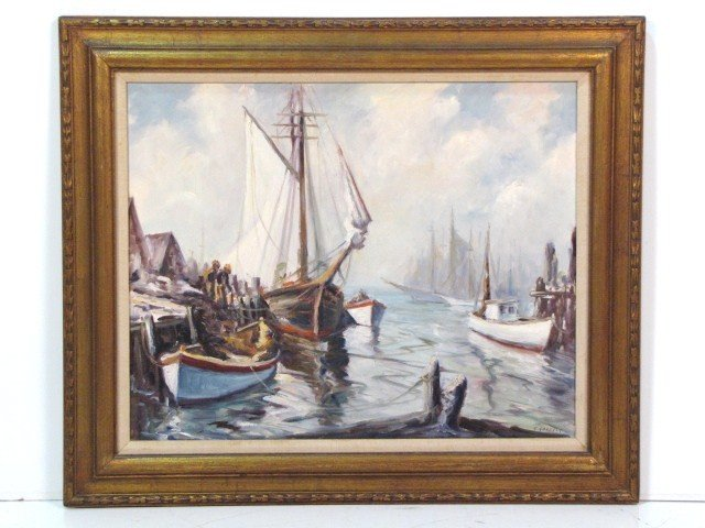 6: EDWARD GARBELY HARBOR SCENE PAINTING