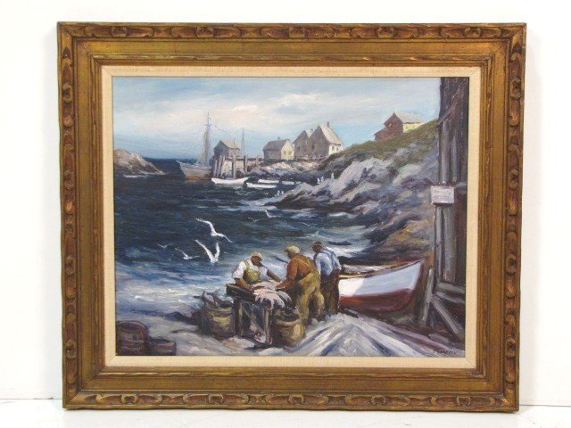 7: EDWARD GARBELY HARBOR SCENE PAINTING