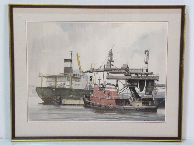 9: JAMES DRAKE IAMS WATERCOLOR HARBOR SCENE