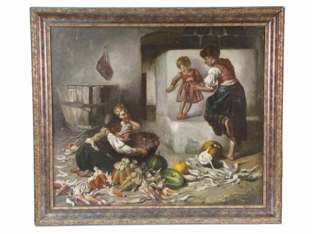11: 19th c. PAINTING of  a MOTHER & CHILDREN
