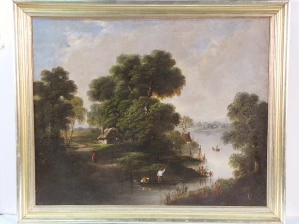 12: 19th c. LANDSCAPE PAINTING w/ FIGURES