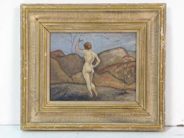 14: HERBERT GURSCHNER PAINTING of a FEMALE NUDE