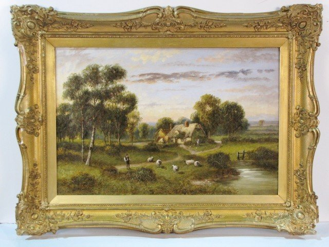 15: J.M. GOODMAN LANDSCAPE PAINTING w/ SHEEP