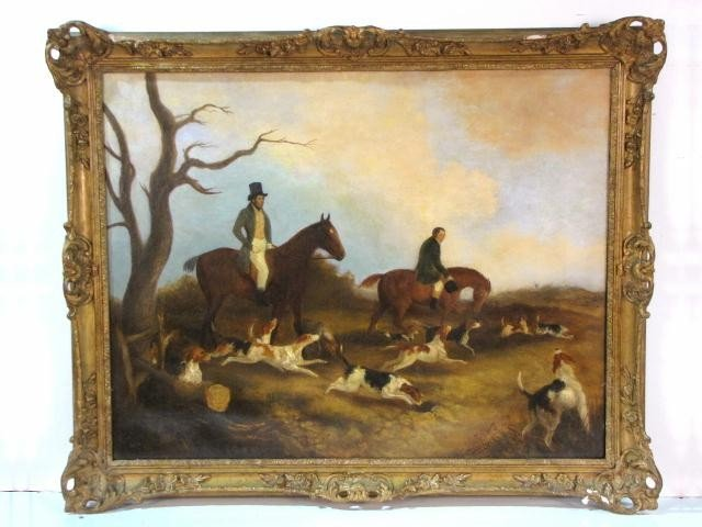 18: 19th c. PAINTING of a HUNT SCENE