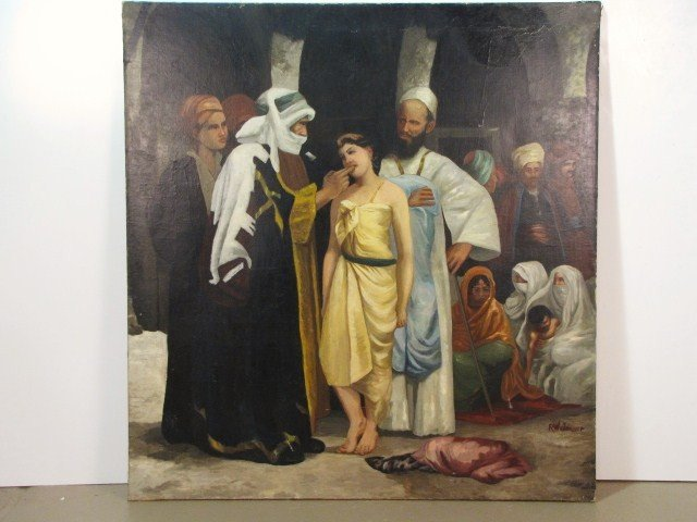"22: R.W. YEAGER 71""x 67"" PAINTING of a SLAVE MERCHANT"