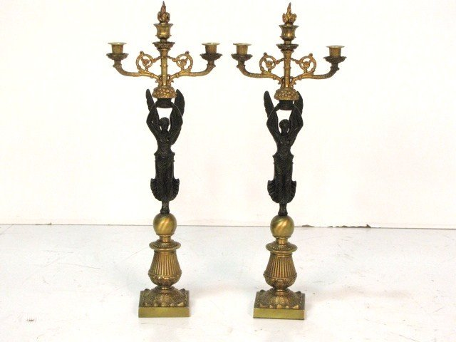 "161: Pair 25"" FRENCH EMPIRE STYLE FIGURAL CANDELABRAS"