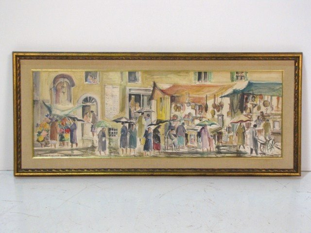 23: ITALIAN WATERCOLOR of a MARKET SCENE