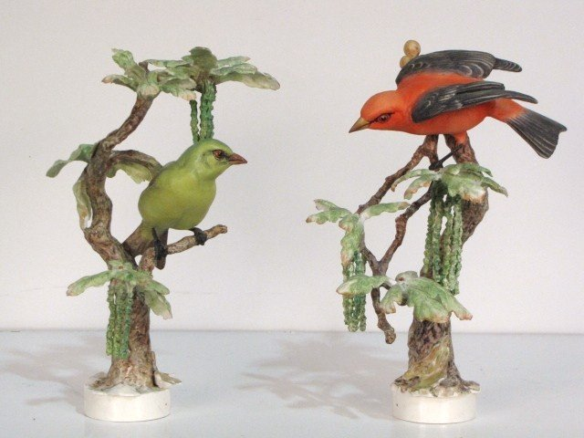 24: 2 ROYAL WORCESTER DOROTHY DOUGHTY SCARLET TANAGERS
