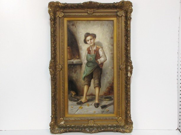 3: FRANCOIS BRICARD PAINTING of a SMOKING BOY