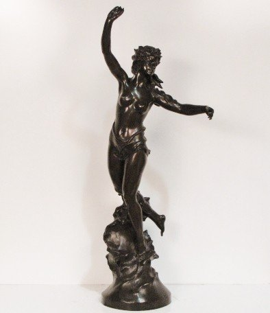 """14: 43"""" MARCEL DEBUT BRONZE of a NYMPH"""