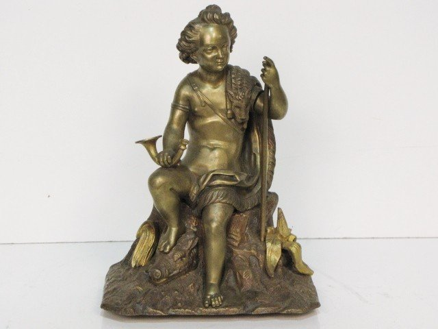 """19: 12"""" FRENCH BRONZE of a YOUNG HUNTER"""