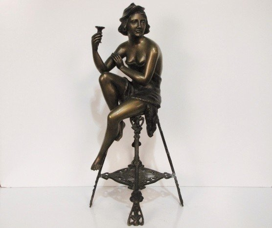 """20: 31"""" A. DeLUCA BRONZE of a YOUNG GIRL"""