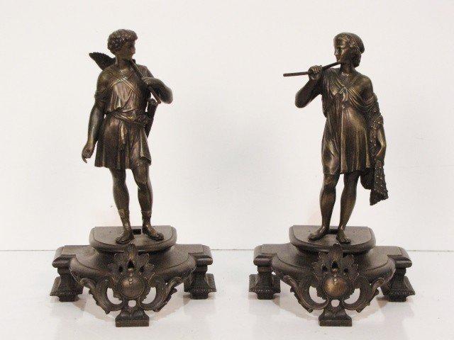 """21: Pair 12"""" BRONZES of ROMAN HUNTERS"""