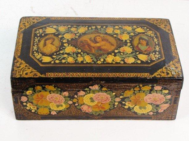 37: PERSIAN QAJAR DYNASTY LACQUERED PORTRAIT BOX