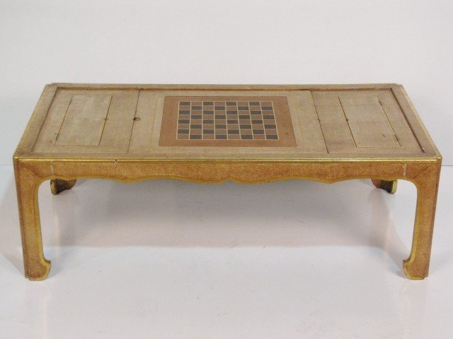 ASIAN MODERN COFFEE TABLE w CHECKERBOARD TOP