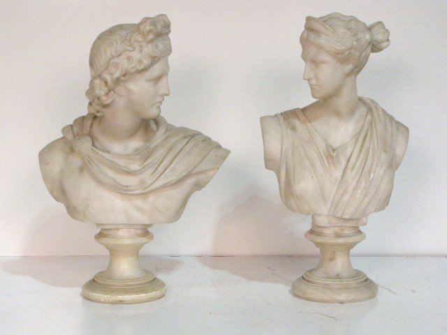 """9: Pair 14"""" CARVED ALABASTER BUSTS of ROMAN FIGURES"""
