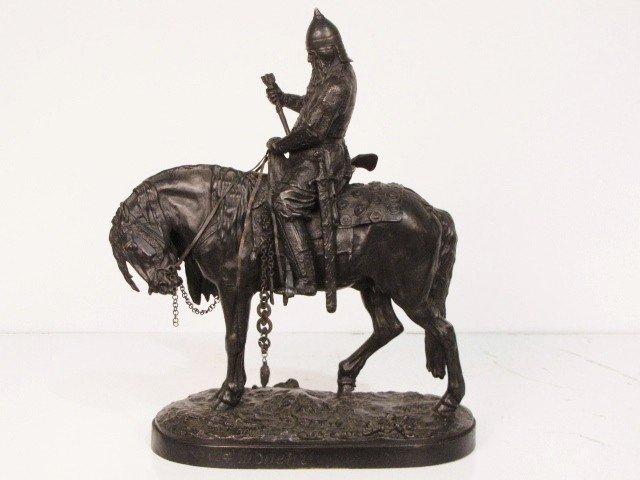 12: EUGENI LANCERAY RUSSIAN BRONZE WARRIOR ON HORSEBACK