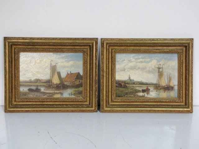6: Pair HENDRIK HULK HARBOR SCENE PAINTINGS