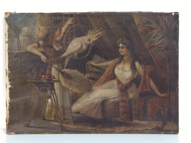 10: ANTIQUE OIL PAINTING of CLEOPATRA & CHARMIAN