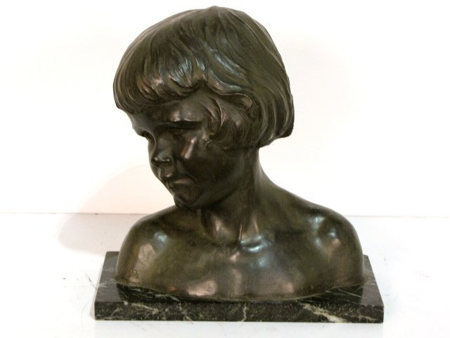 24: J. KRATINA BRONZE BUST of a YOUNG GIRL