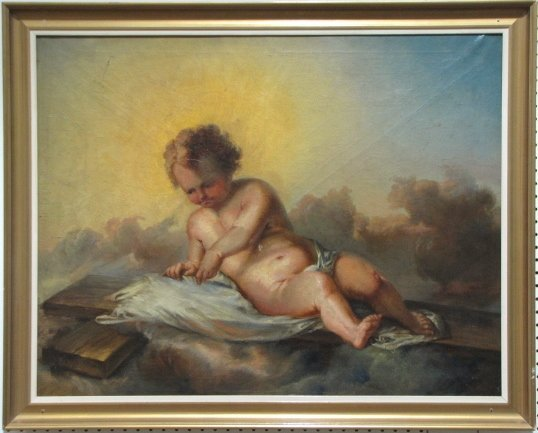 7: 19th c. OIL PAINTING of a PUTTI