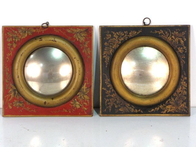 23: Pair PAINT DECORATED WOOD CONVEX MIRRORS
