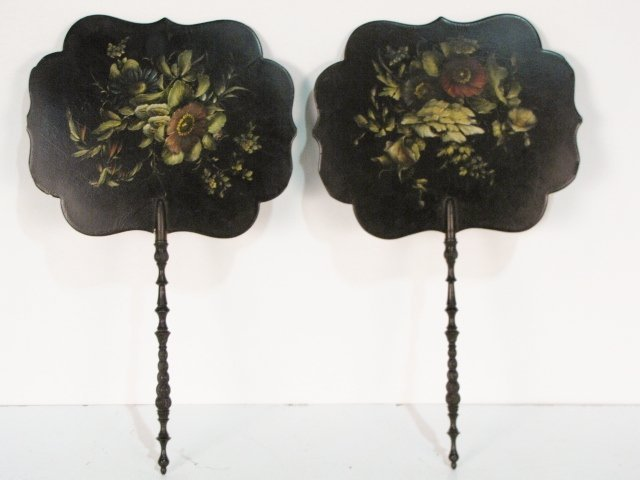 24: Pair PAINT DECORATED LACQUER HAND SCREENS