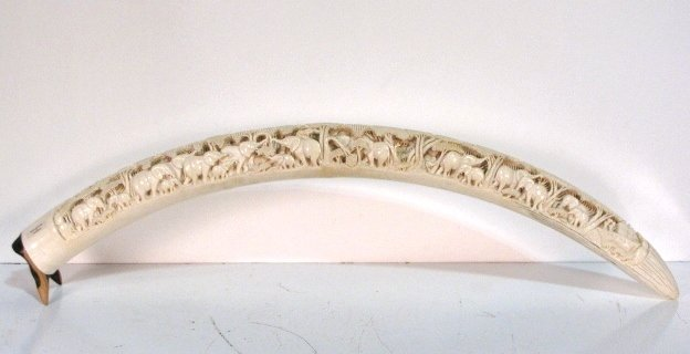 """38: 39"""" CARVED AFRICAN TUSK w/ ELEPHANTS"""