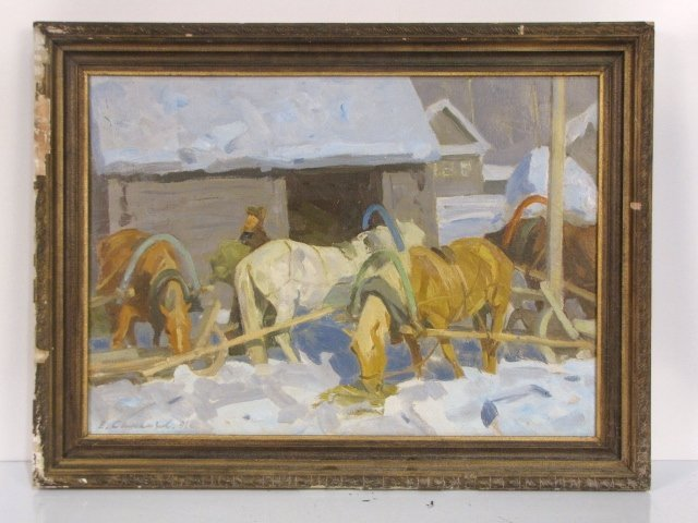 17: EUGENY SAMSONOV RUSSIAN PAINTING of a BUILDING