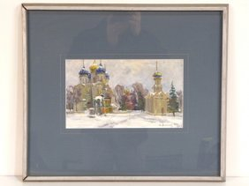 RUSSIAN OIL PAINTING TOWN SQUARE