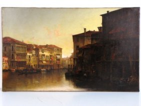 "6: THADEUS DeFREES PAINTING ""JUST BEFORE SUNSET, VENICE"