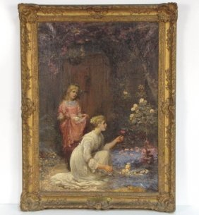 "8: EDWIN ROBERTS PAINTING ""THE ROSE GARDEN"""