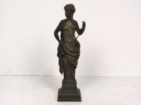 "18: LOUIS CHARLES JANSON 14"" BRONZE CLASSICAL MAIDEN"