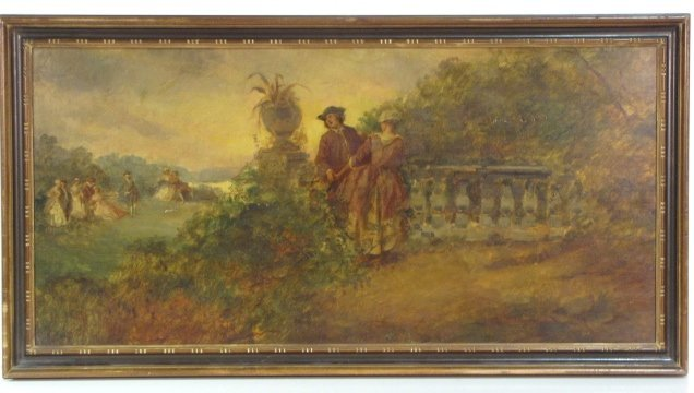 19: 19th c. FRENCH GENRE PAINTING of a COURTING COUPLE