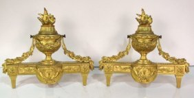24: Pair ANTIQUE FRENCH GILT BRONZE CHENETS