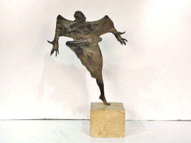 91: 20th c. BRONZE SCULPTURE of a MASKED DANCER