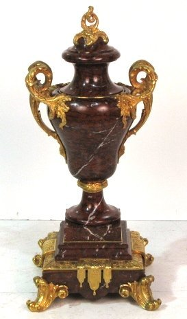 """19th c. FRENCH ROUGE MARBLE & BRONZE 26"""" URN"""