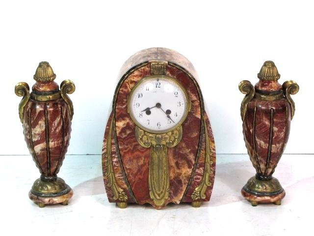 3 pc. FRENCH BRONZE & MARBLE CLOCK SET