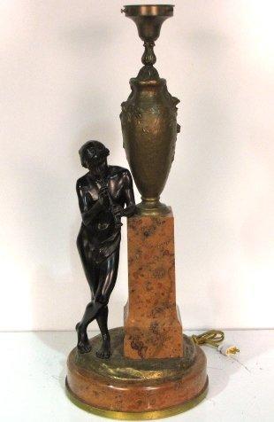 HANS MULLER FIGURAL BRONZE & ROUGE MARBLE LAMP