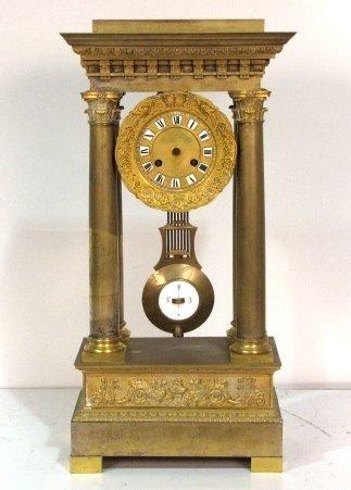 19th c. FRENCH EMPIRE STYLE BRONZE COLUMN CLOCK