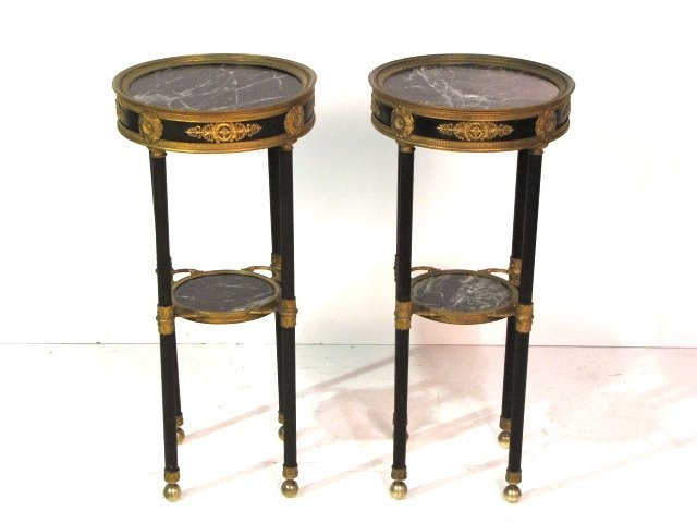 Pair 19th c. FRENCH BRONZE MARBLETOP GUERIDONS