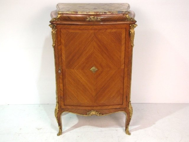 FRENCH BRONZE MOUNTED MARBLETOP PARLOR CABINET