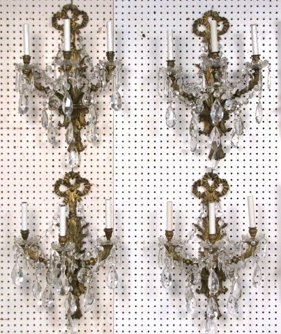 """4 FRENCH STYLE 23"""" BRASS & CRYSTAL SCONCES"""