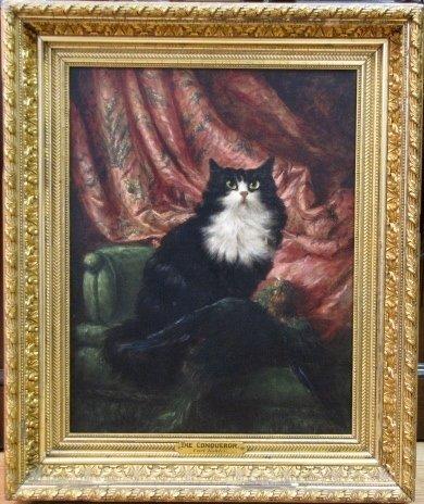 """19th c. CAT PAINTING """"THE CONQUEROR"""" att. CARL KAHLER"""