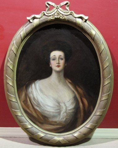 19th c. OVAL PAINTING PORTRAIT OF A LADY