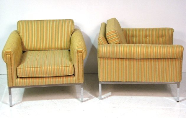 Pair CHROME BASE LOUNGE CHAIRS