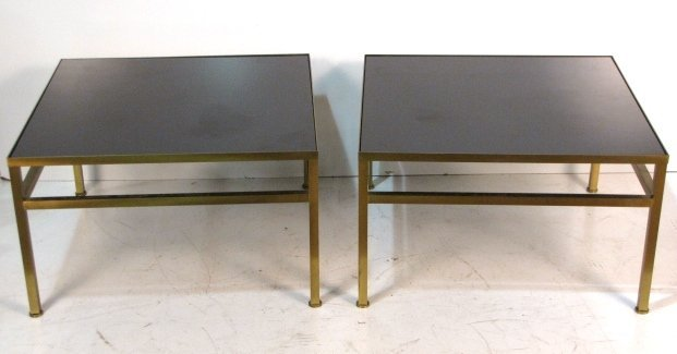 Pair HARVEY PROBBER GLASS TOP BRASS TABLES